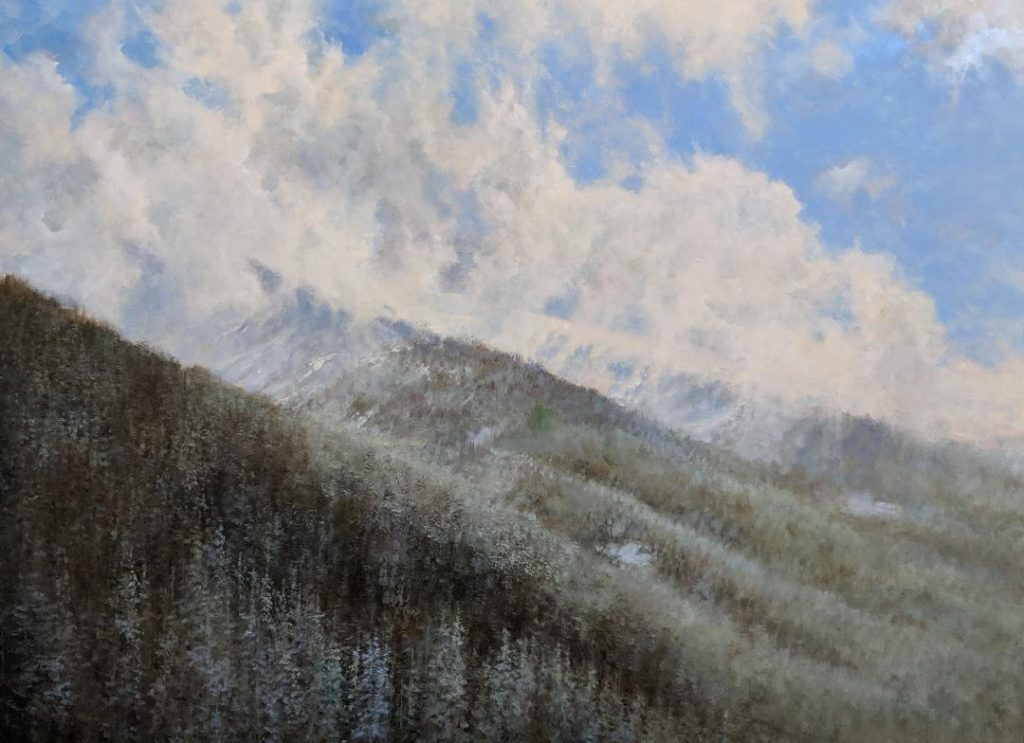 Light on mountains oil painting