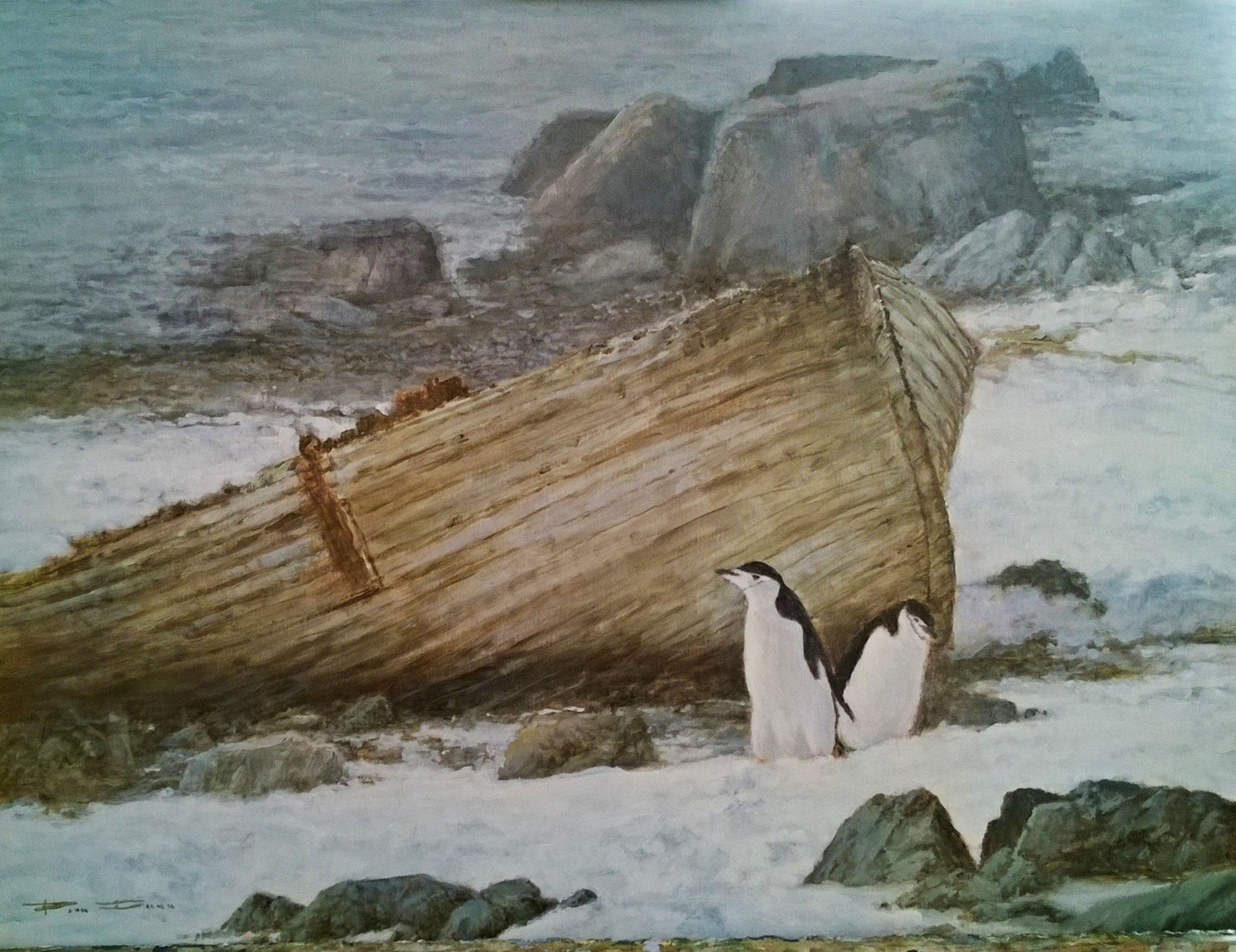 Penguins by the Old Boat